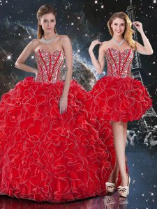 Floor Length Wine Red Quinceanera Gowns Sweetheart Sleeveless Lace Up
