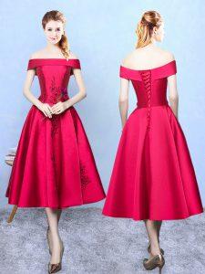 Cap Sleeves Taffeta Tea Length Lace Up Vestidos de Damas in Wine Red with Appliques