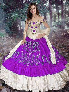 Off The Shoulder Sleeveless Lace Up Sweet 16 Quinceanera Dress Eggplant Purple Taffeta