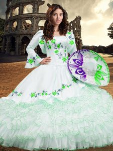 Excellent White Ball Gowns Embroidery and Ruffled Layers 15 Quinceanera Dress Lace Up Organza Long Sleeves Floor Length
