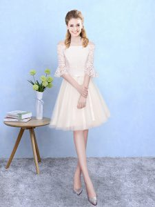 Traditional Off The Shoulder Half Sleeves Tulle Dama Dress Lace Lace Up