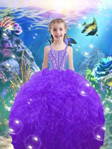 Eggplant Purple Sleeveless Floor Length Beading and Ruffles Lace Up Little Girl Pageant Dress