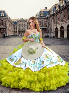 Yellow Green Sleeveless Floor Length Embroidery and Ruffled Layers Lace Up Sweet 16 Dresses