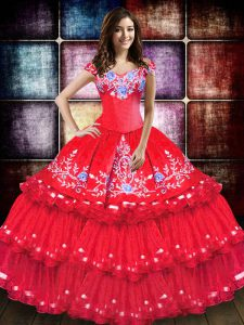 Hot Sale Coral Red Ball Gowns Embroidery and Ruffled Layers Quinceanera Gowns Lace Up Taffeta Sleeveless Floor Length