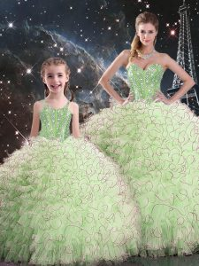 Floor Length Quince Ball Gowns Organza Sleeveless Beading and Ruffles