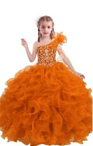 Great Floor Length Orange Red Little Girl Pageant Gowns Organza Sleeveless Beading and Ruffles
