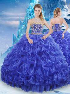 Floor Length Royal Blue Sweet 16 Quinceanera Dress Strapless Sleeveless Lace Up