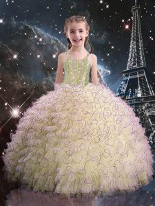 Floor Length Ball Gowns Sleeveless Light Yellow Little Girls Pageant Gowns Lace Up