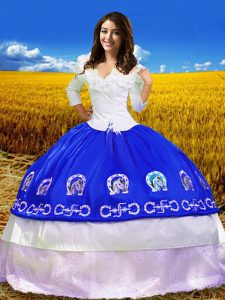 Attractive Ball Gowns Sweet 16 Dresses Royal Blue Off The Shoulder Taffeta 3 4 Length Sleeve Floor Length Lace Up