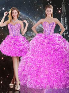 Customized Three Pieces 15th Birthday Dress Fuchsia Sweetheart Organza Sleeveless Floor Length Lace Up