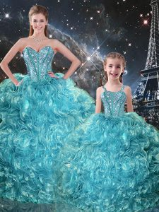 Fabulous Aqua Blue Ball Gowns Sweetheart Sleeveless Organza Floor Length Lace Up Beading and Ruffles Quinceanera Gown