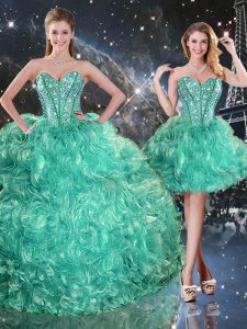 Flare Three Pieces Vestidos de Quinceanera Turquoise Sweetheart Organza Sleeveless Floor Length Lace Up