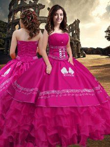 Hot Pink Zipper Ball Gown Prom Dress Embroidery and Ruffled Layers Sleeveless Floor Length