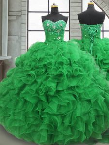 Custom Fit Floor Length Green Sweet 16 Dresses Sweetheart Sleeveless Lace Up