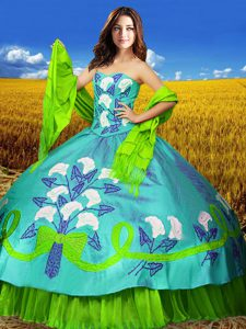 Colorful Multi-color Ball Gowns Taffeta Sweetheart Sleeveless Embroidery Floor Length Lace Up Sweet 16 Quinceanera Dress