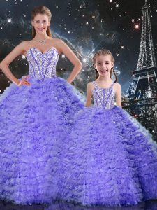 Suitable Floor Length Lace Up Sweet 16 Dress Lavender for Military Ball and Sweet 16 and Quinceanera with Beading and Ruffles