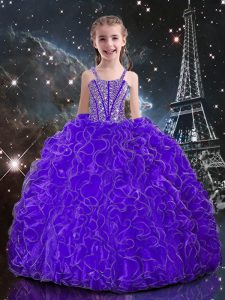 Eggplant Purple Ball Gowns Straps Sleeveless Organza Floor Length Lace Up Beading and Ruffles Little Girls Pageant Dress Wholesale