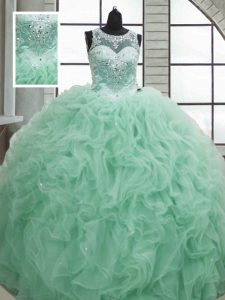 Perfect Floor Length Apple Green 15 Quinceanera Dress Scoop Sleeveless Lace Up