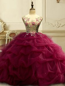 Romantic Burgundy Lace Up Scoop Appliques and Ruffles and Sequins Vestidos de Quinceanera Organza Sleeveless