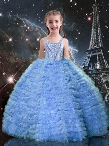 Straps Sleeveless Lace Up Kids Formal Wear Baby Blue Tulle