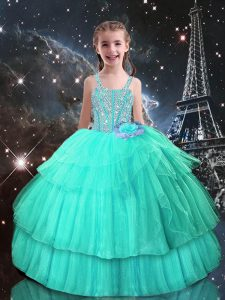 Best Turquoise Ball Gowns Straps Sleeveless Tulle Floor Length Lace Up Beading Little Girl Pageant Dress