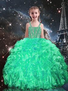 New Arrival Apple Green Ball Gowns Spaghetti Straps Sleeveless Organza Floor Length Lace Up Beading and Ruffles Little Girl Pageant Gowns
