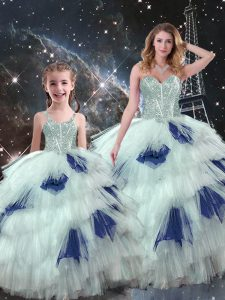 Flirting Organza Sleeveless Floor Length Sweet 16 Quinceanera Dress and Beading and Ruffled Layers