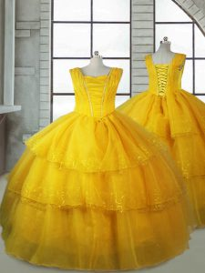 Affordable Gold Sleeveless Organza Lace Up Kids Pageant Dress for Quinceanera and Wedding Party