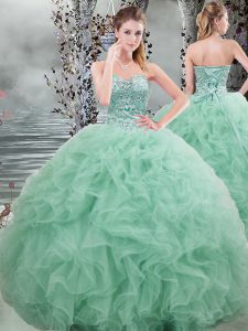 Ball Gowns Sweet 16 Quinceanera Dress Apple Green Sweetheart Organza Sleeveless Floor Length Lace Up