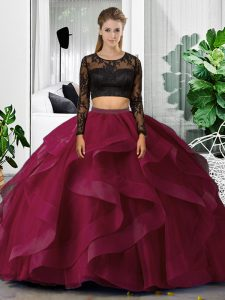 Fuchsia Scoop Neckline Lace and Ruffles Quinceanera Dress Long Sleeves Backless