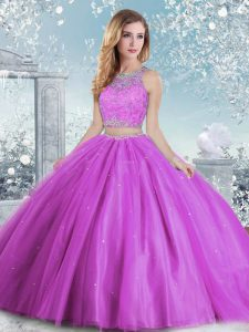 Glittering Sleeveless Beading and Sequins Clasp Handle Quinceanera Gown