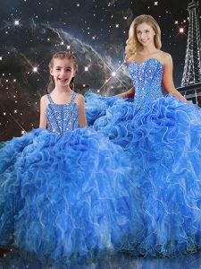 Fantastic Ball Gowns Sweet 16 Dresses Baby Blue Sweetheart Organza Sleeveless Floor Length Lace Up