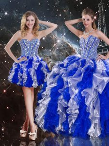 On Sale Multi-color Sleeveless Organza Lace Up Quinceanera Gowns for Military Ball and Sweet 16 and Quinceanera