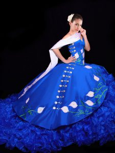 Clearance Royal Blue Ball Gowns Embroidery and Ruffles Quinceanera Dress Lace Up Organza Sleeveless