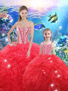 Floor Length Coral Red Quinceanera Dresses Sweetheart Sleeveless Lace Up