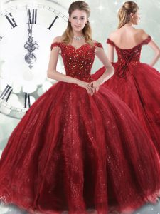 Customized Sleeveless Beading Lace Up Quinceanera Gowns with Wine Red Brush Train