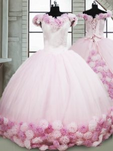 New Arrival Pink Quinceanera Dress Fabric With Rolling Flowers Brush Train Sleeveless Hand Made Flower