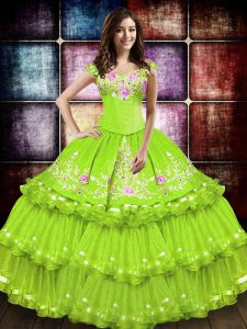 Sleeveless Taffeta Floor Length Lace Up Quinceanera Gown in Yellow Green with Embroidery and Ruffled Layers