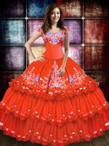 Shining Sleeveless Lace Up Floor Length Embroidery and Ruffled Layers Vestidos de Quinceanera