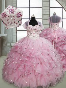 Great Baby Pink Spaghetti Straps Lace Up Beading and Ruffles Little Girls Pageant Gowns Brush Train Sleeveless