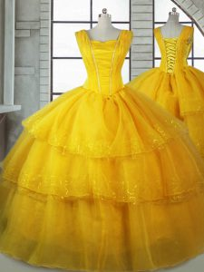 Dazzling Gold Ball Gowns Straps Sleeveless Organza Floor Length Lace Up Ruffled Layers Quince Ball Gowns
