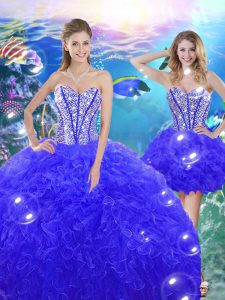 Discount Blue Lace Up Quinceanera Dresses Beading and Ruffles Sleeveless Floor Length