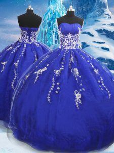 Simple Blue Sleeveless Organza Lace Up Quinceanera Gowns for Military Ball and Sweet 16 and Quinceanera