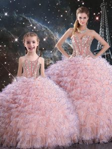 Hot Selling Organza Sweetheart Sleeveless Lace Up Beading and Ruffles 15th Birthday Dress in Baby Pink