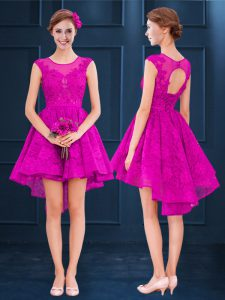 Fuchsia Lace Up Scoop Lace and Belt Dama Dress for Quinceanera Satin and Tulle Sleeveless