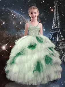 Glorious White Ball Gowns Beading and Ruffled Layers Girls Pageant Dresses Lace Up Tulle Sleeveless Floor Length