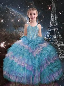 Organza Straps Sleeveless Lace Up Beading and Ruffled Layers Little Girl Pageant Gowns in Teal