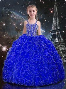 Fashion Straps Sleeveless Lace Up Child Pageant Dress Royal Blue Organza