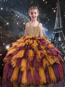Ball Gowns Little Girls Pageant Dress Wholesale Orange Straps Tulle Sleeveless Floor Length Lace Up