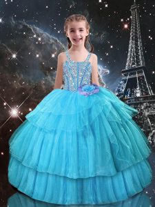 Sleeveless Floor Length Beading and Ruffled Layers Lace Up Little Girl Pageant Dress with Aqua Blue